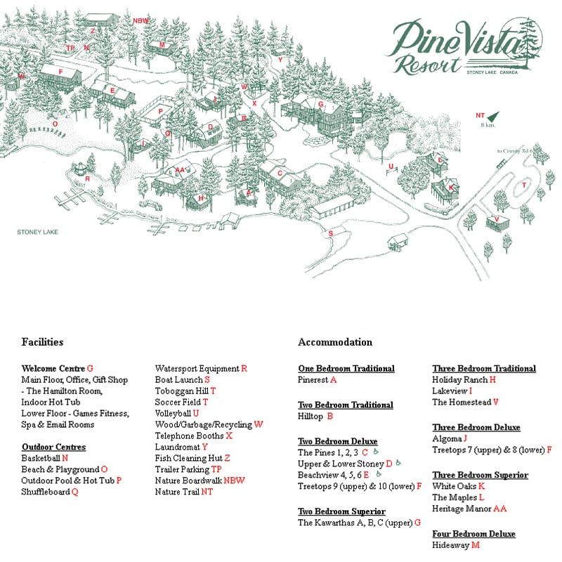 Pine Vista Resort map